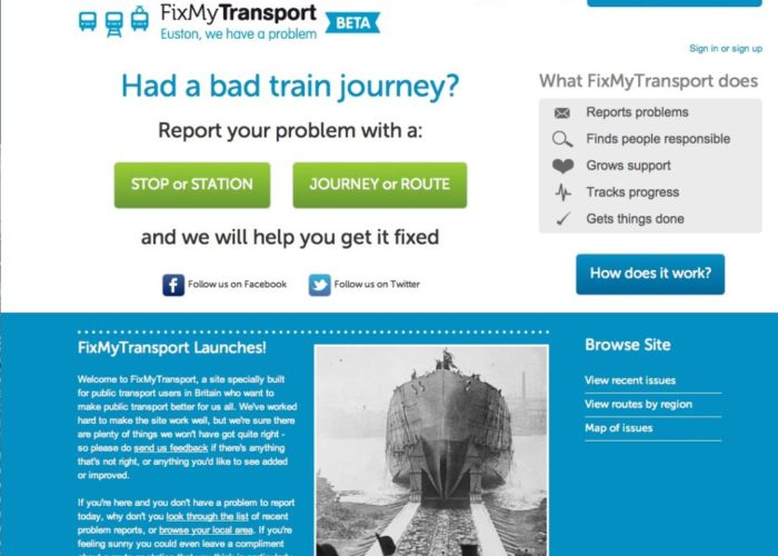 Fix My Transport homepage